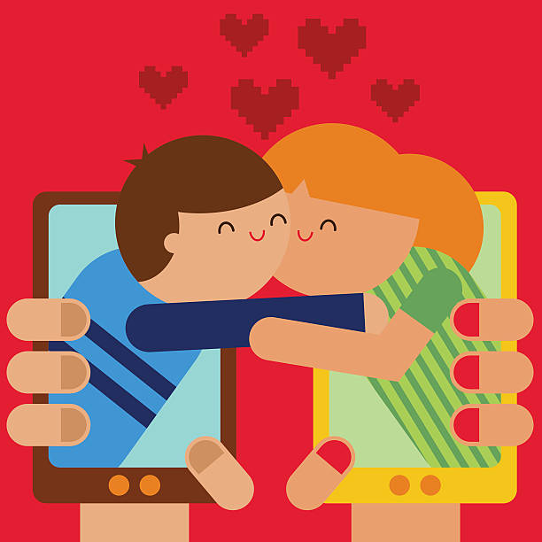 stockillustraties, clipart, cartoons en iconen met online dating - omhelzen