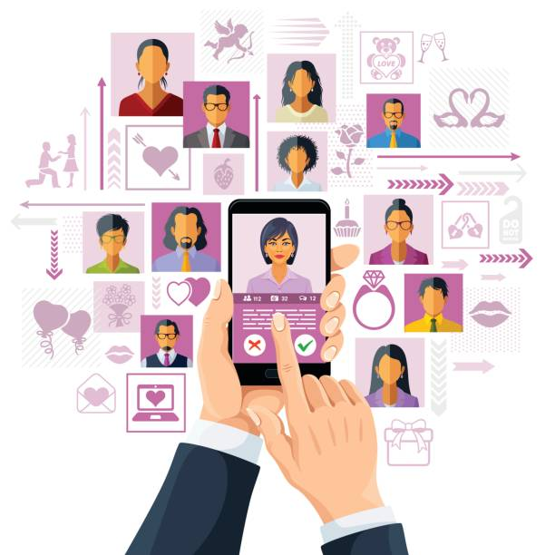 Online Dating Online dating app concept online dating stock illustrations