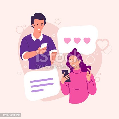 Online dating vector illustration. Lovers a guy and a girl correspond in a chat. Couple in love. Male and female chatting. Congratulations with Valentine's day. Flat style.