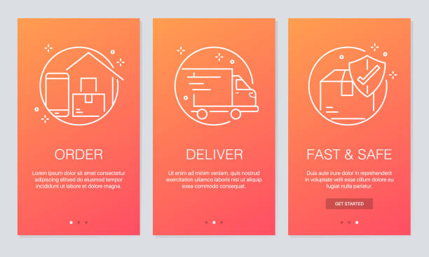 online delivery concept onboarding app screens. modern and simplified vector illustration walkthrough screens template for mobile apps. - delivery van stock illustrations, clip art, cartoons, & icons