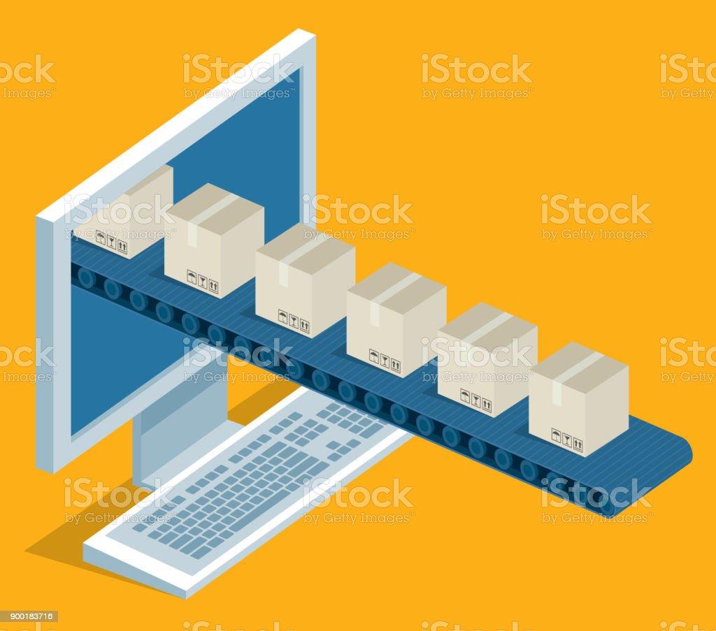 Online delivery - desktop vector art illustration