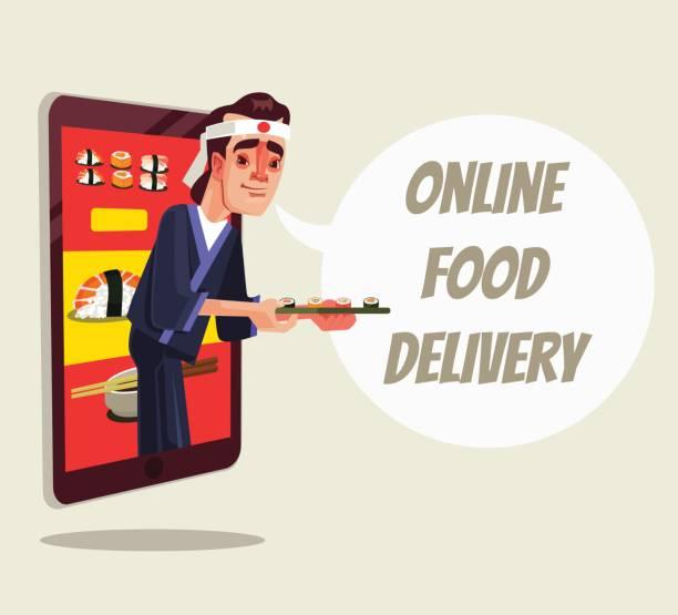online-bereitstellung speisen isoliert. koch figur aus smartphone und sushi essen hält - tablet mit displayinhalt stock-grafiken, -clipart, -cartoons und -symbole
