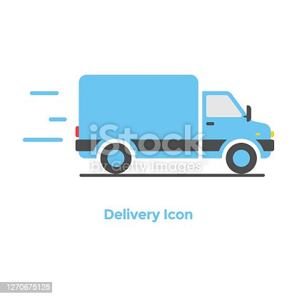 istock Online Delivery Icon Flat Design. 1270675125