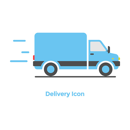 Online Delivery Icon Flat Design.
