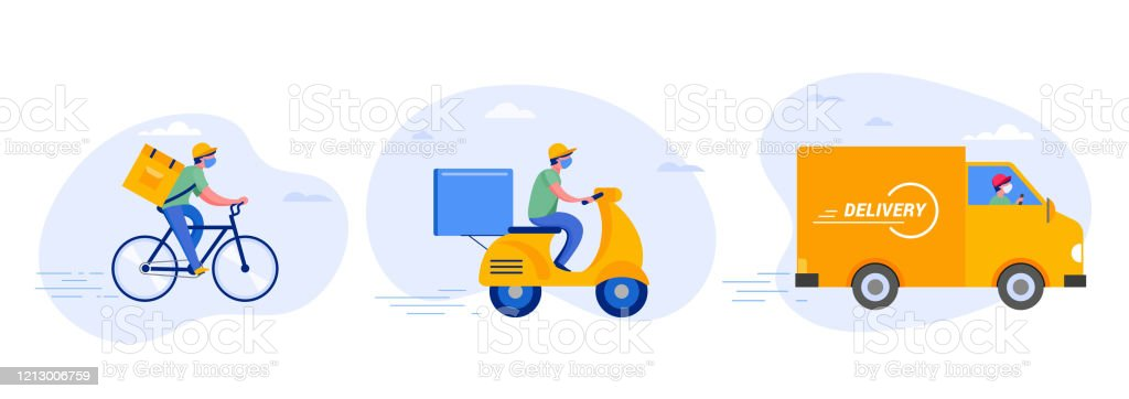 Online delivery service concept, online order tracking, delivery home and office. Warehouse, truck, drone, scooter and bicycle courier, delivery man in respiratory mask. Vector illustration - Grafika wektorowa royalty-free (Aplikacja mobilna)