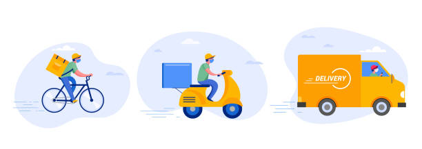 online delivery service concept, online order tracking, delivery home and office. warehouse, truck, drone, scooter and bicycle courier, delivery man in respiratory mask. vector illustration - food delivery stock illustrations