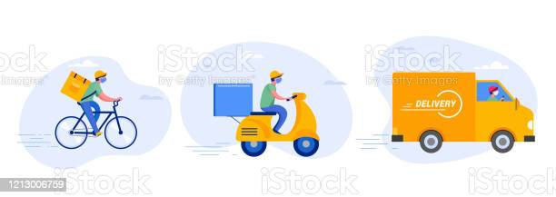 Online Delivery Service Concept Online Order Tracking Delivery Home And Office Warehouse Truck Drone Scooter And Bicycle Courier Delivery Man In Respiratory Mask Vector Illustration - Stockowe grafiki wektorowe i więcej obrazów Aplikacja mobilna