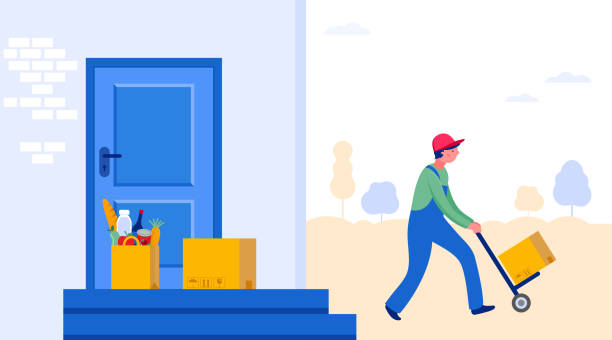 Online delivery service concept, online order tracking, delivery home and office. Warehouse, truck, drone, scooter and bicycle courier, delivery man in respiratory mask. Vector illustration Online delivery service concept, online order tracking, delivery home and office. Warehouse, truck, drone, scooter and bicycle courier, delivery man in respiratory mask. Vector illustration door stock illustrations