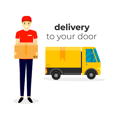 Online delivery service concept, online order tracking. Delivery home and office. Warehouse, truck, courier, delivery man. Vector illustration. White background.