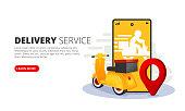 Online delivery service web banner. Mobile app for delivery Vector illustration.