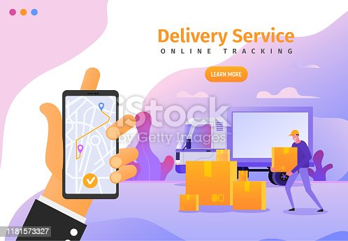 Online delivery services app with gps tracking web banner, poster, flyer template. Vector illustration of cargo shipping for ui, ux or landing page.