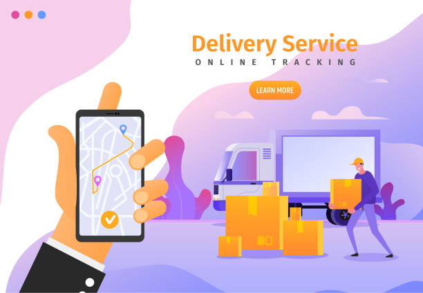 illustrazioni stock, clip art, cartoni animati e icone di tendenza di online delivery services app with gps tracking web banner, poster, flyer template. vector illustration of cargo shipping for ui, ux or landing page - logistica