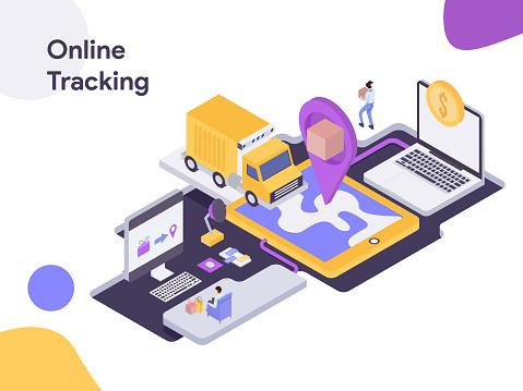 Online Delivery Tracking Isometric Illustration. Modern flat design style for website and mobile website.Vector illustration