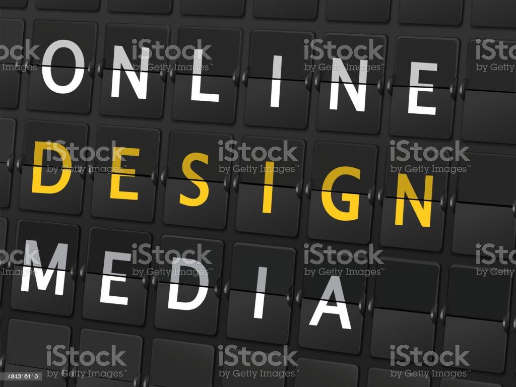 オンラインメディアの言葉空港のデザインボード 2015年のベクター