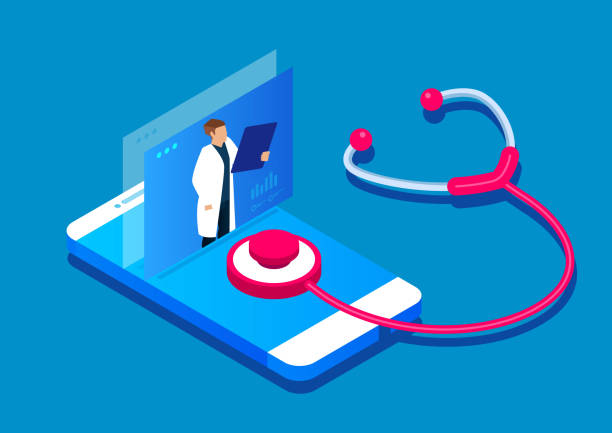 ilustraciones, imágenes clip art, dibujos animados e iconos de stock de diagnóstico en línea, servicios médicos en línea - telehealth
