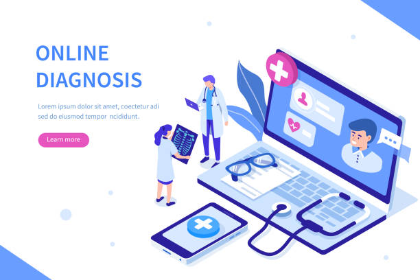 online diagnosis Online diagnosis concept with characters. Can use for web banner, infographics, hero images. Flat isometric vector illustration isolated on white background. medical technical equipment stock illustrations