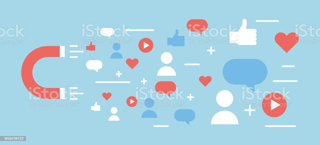 Online digital media magnet and influencer. Vector background illustration concept for popularity, likes, comments, followers. vector art illustration