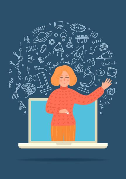 ilustrações, clipart, desenhos animados e ícones de educação a distância online - professor