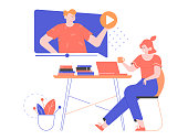 Online distance education, watching webinars, training videos. Girl student sitting at a desk next to a laptop. Man is giving a lecture. Play button, stacks of books, flower. Vector flat illustration