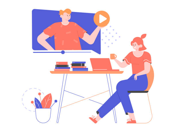 Online distance education, watching webinars, training videos. Online distance education, watching webinars, training videos. Girl student sitting at a desk next to a laptop. Man is giving a lecture. Play button, stacks of books, flower. Vector flat illustration children only stock illustrations