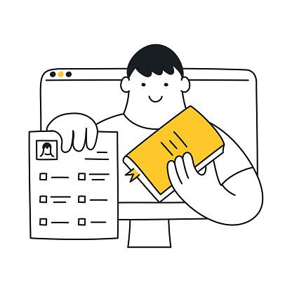 Online distant education, webinar, e-learning tutorial concept