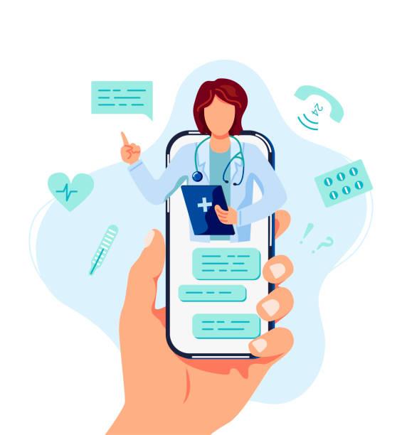 ilustraciones, imágenes clip art, dibujos animados e iconos de stock de médico en línea y concepto de consulta médica. - telehealth