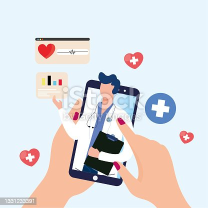 istock Online doctor and telemedicine concept. Vector of connecting with an online doctor using a smartphone app. Online professional examination and prescription illustration. 1331233391