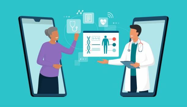 Online doctor and telemedicine vector art illustration