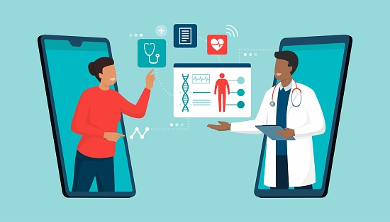 Online doctor and telemedicine: woman connecting with a doctor online using a smartphone app and having a professional medical consultation
