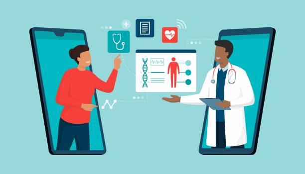 ilustraciones, imágenes clip art, dibujos animados e iconos de stock de médico en línea y telemedicina - telehealth