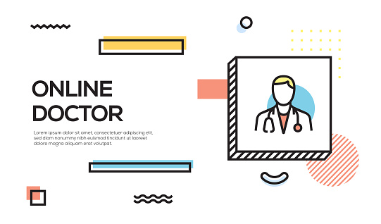 Online Doctor Concept. Geometric retro Style Banner and Poster Concept with Online Doctor icon