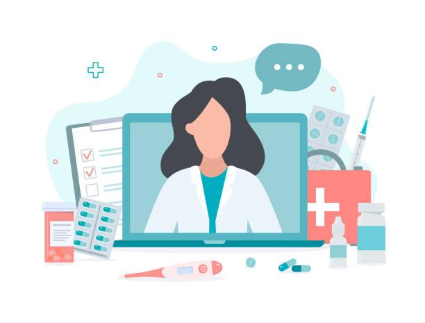 ilustraciones, imágenes clip art, dibujos animados e iconos de stock de concepto médico en línea - telehealth