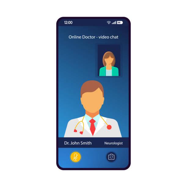 stockillustraties, clipart, cartoons en iconen met online arts consultatie smartphone interface vector template - raam bezoek