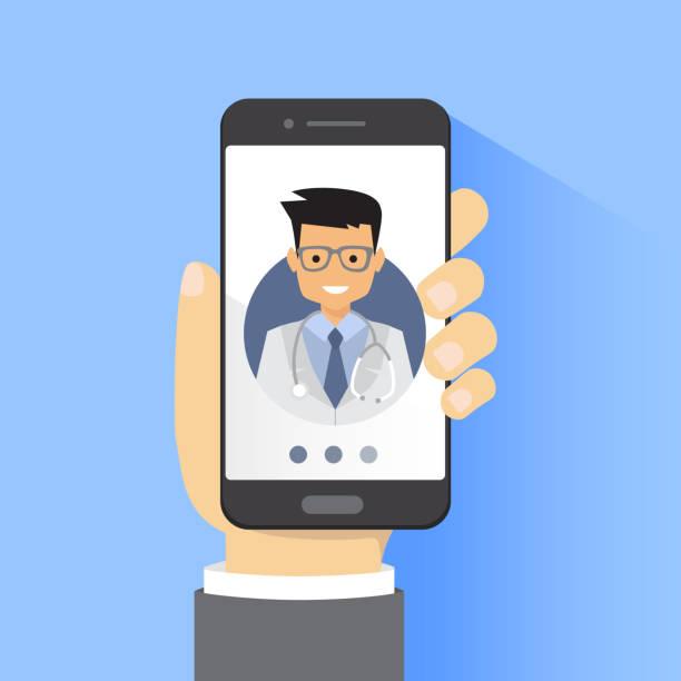 online doctor consultation technology in smartphone vector - telemedicine stock illustrations