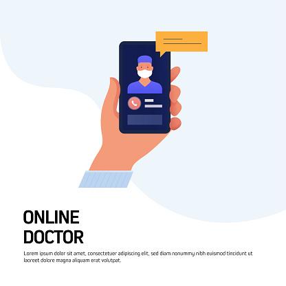 Online Doctor, Healthcare Concept Vector Illustration for Website Banner, Advertisement and Marketing Material, Online Advertising, Business Presentation etc.