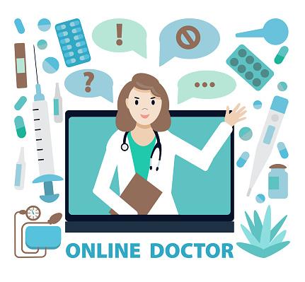 Online doctor, internet computer health service. Online medical services, medical consultation. Vector illustration for websites landing page templates. Female doctor. Flat style.