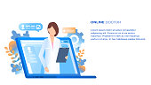 Online Doctor Medical Consultation and Support. Internet Computer Pharmacy Health Service. Woman with Tablet in Hand Appear from Laptop. Hospital Consult. Flat Cartoon Vector Illustration