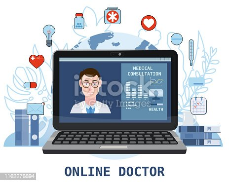 Online doctor men healthcare concept icon set. Doctor videocalling on a laptop