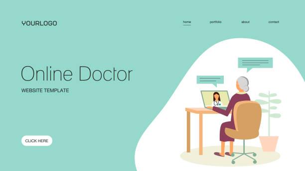 Online doctor vector art illustration