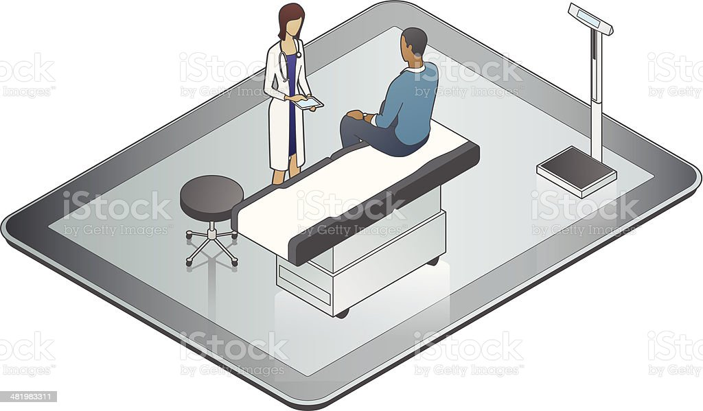 Online Doctor vector art illustration