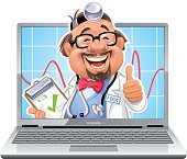 Vector illustration of a cute, cheerfull doctor with glasses, a clipboard and a stethoscope on a laptop screen gesturing tumbs up, isolated on white. Concept for medical online services or online health checks and consultation.