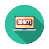 Online Donation Flat Design Charity Icon