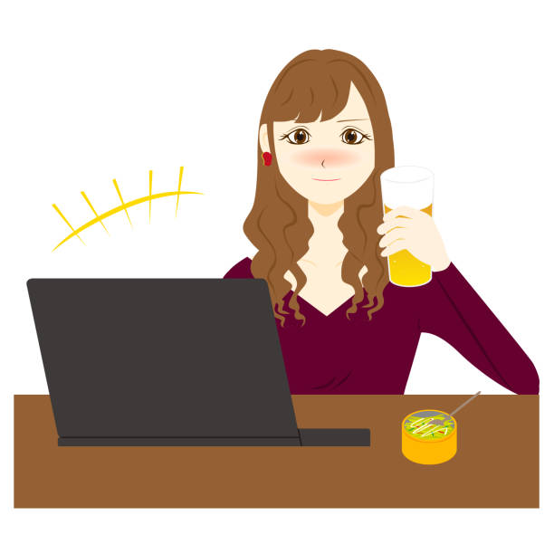 illustrazioni stock, clip art, cartoni animati e icone di tendenza di online drinking party. vector illustration. - woman chat video mobile phone