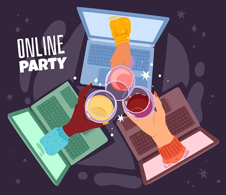 Online drinking. Remote communication, birthday party hangout connection on laptop, internet meeting, female hands with wine glasses, videoconference with friends. Vector cartoon concept