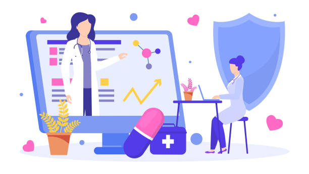 Online educated doctor vector illustration, teaching scientific medical mentors lecture. vector art illustration