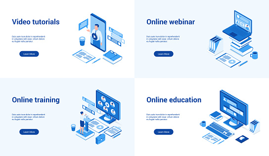 online education 3d blue templates