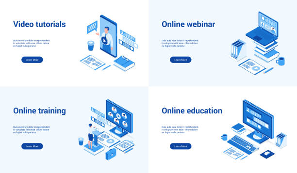online education 3d blue templates - online learning stock illustrations