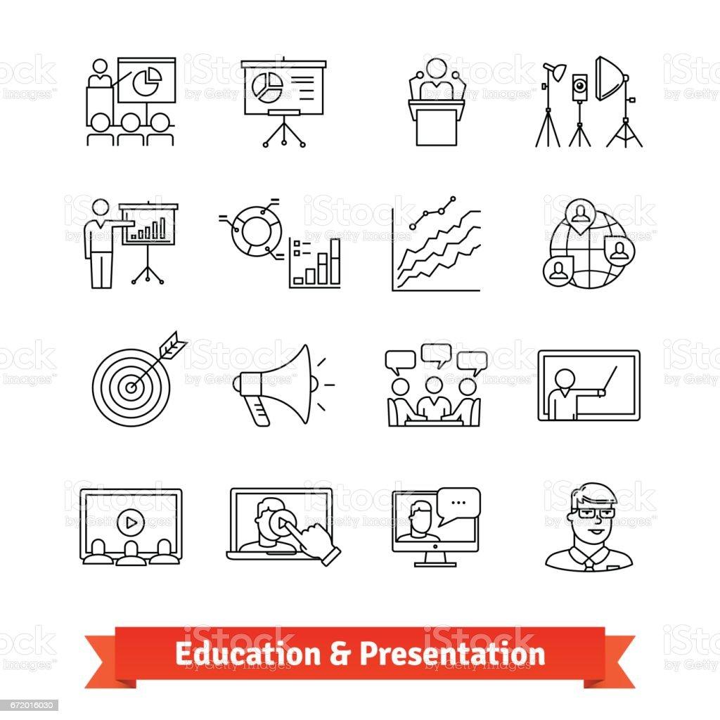 Online education and Academic presentation vector art illustration