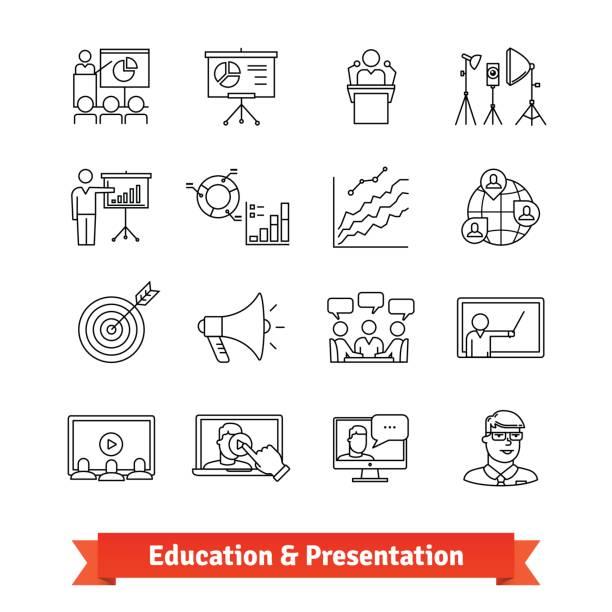 online education and academic presentation - alphabet clipart stock illustrations