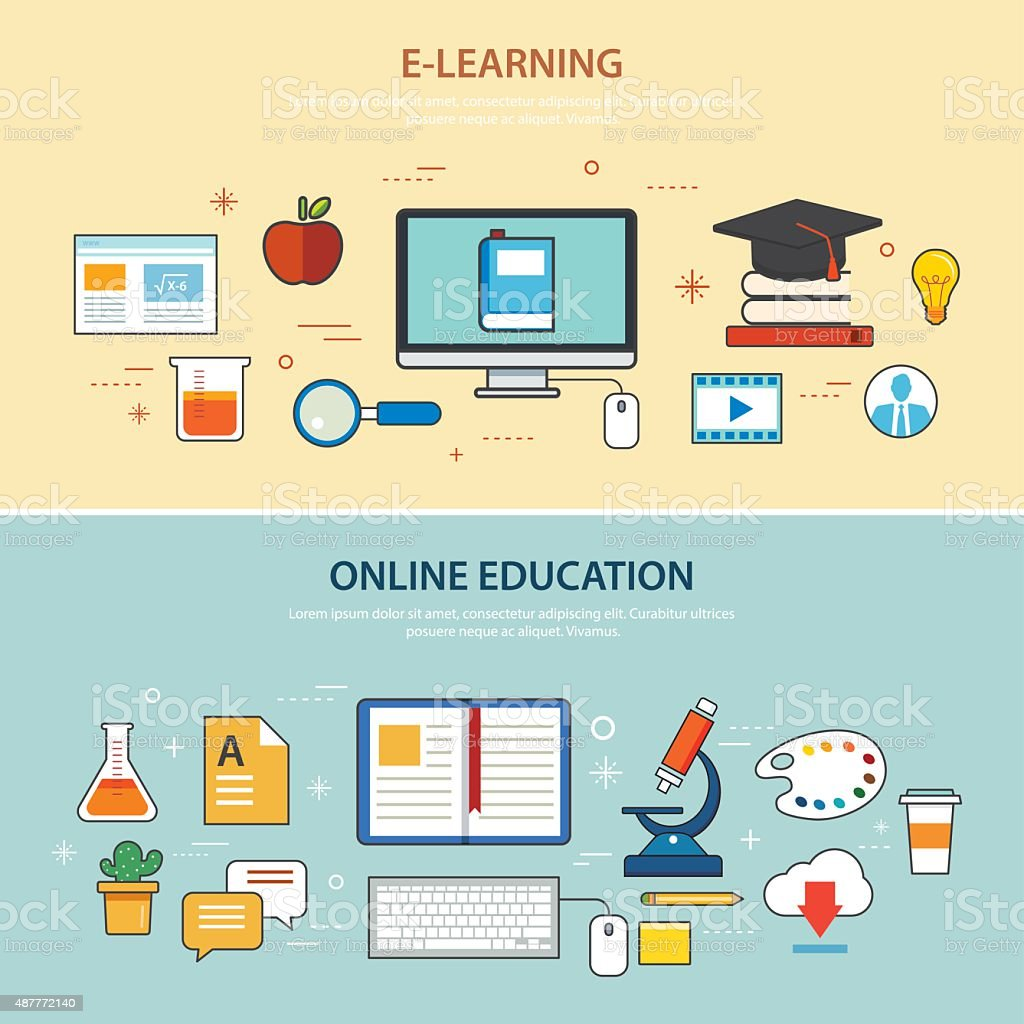 Online Education And Elearning Banner Flat Design Template Stock